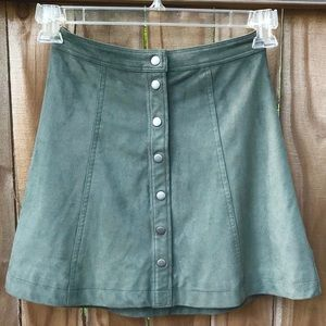 Abercrombie & Fitch Olive Button Down Skirt EUC
